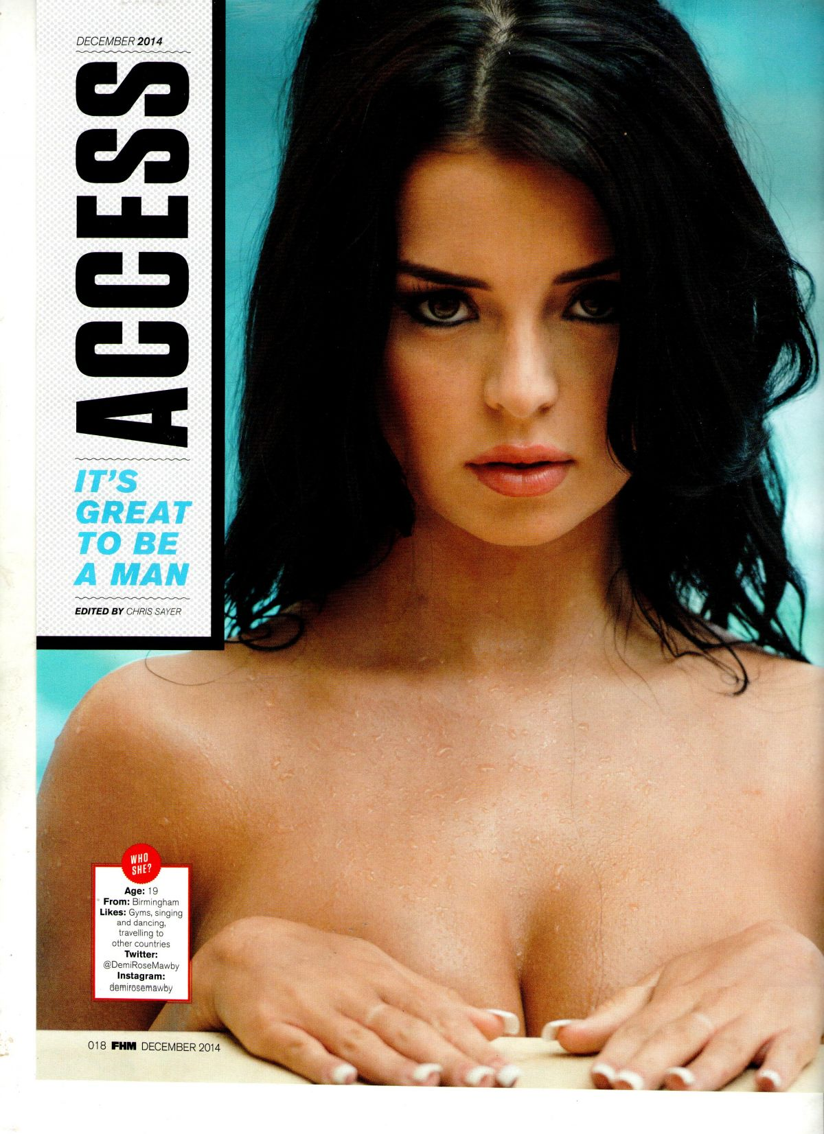 DEMI ROSE MAWBY in Access-FHM Magazine, December 2014 Issue