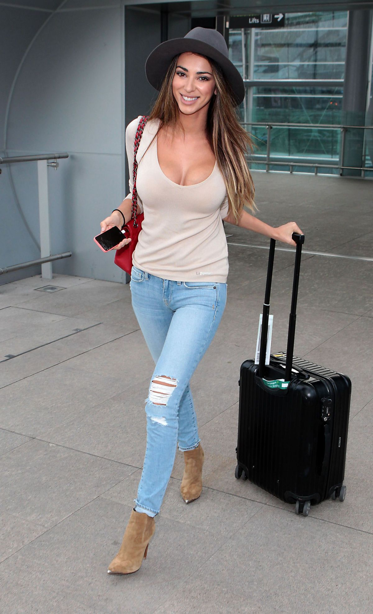GEORGIA SALPA in Ripped Jeans at Airport in Dublin