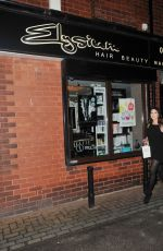 HELEN FLANAGAN at a Hair Salon in Manchester