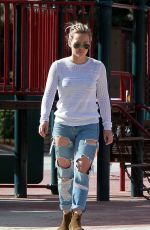 HILARY DUFF in Ripped Jeans Out and About in West Hollywood