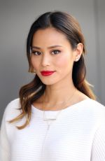 JAMIE CHUNG on the Set of Extra in Los Angeles