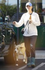 KALEY CUOCO Walks Her Dog Out in Los Angeles