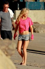 KATE HUDSON at a Photoshoot on the Beach in Malibu
