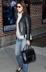 KATIE HOLMES Arrives at Late Show with David Letterman in New York