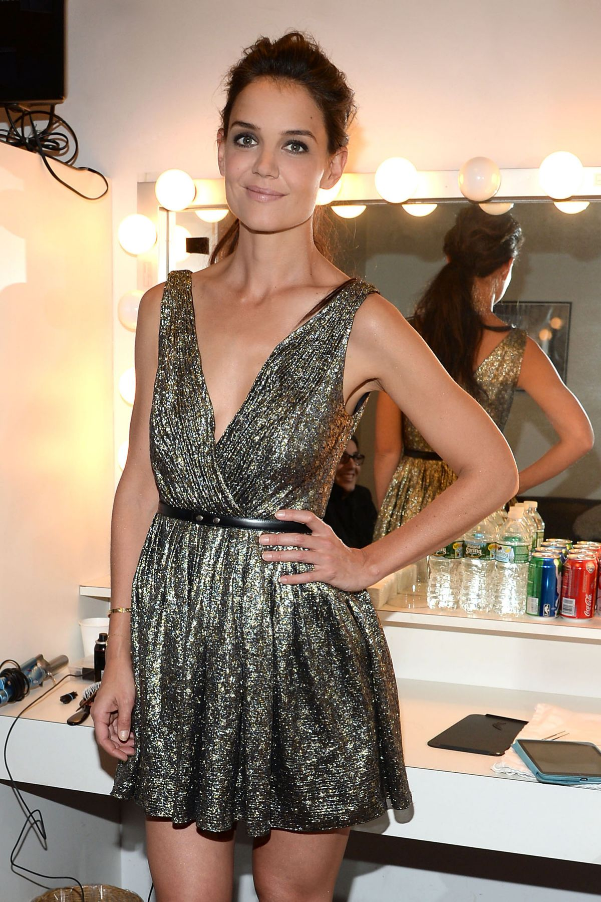 KATIE HOLMES on the Backstage of Late Show With David Letterman