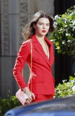 KENDALL JENNER All in Red on the Set of a Photoshoot in Los Angeles