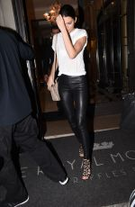 KENDALL JENNER in Leather Pants Out in Paris