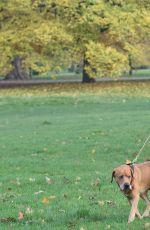 KIMBERLEY GARNE Walks Her Dog Out in Kensington Park