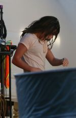 LEA MICHELE on the Glee Set in Los Angeles 1911