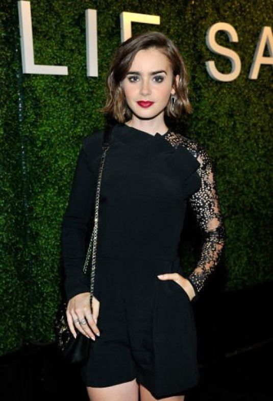 LILY COLLINS at Elie Saab Party in Los Angeles