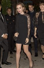 LILY COLLINS Leaves Il Cielo Restaurant in Beverly Hills