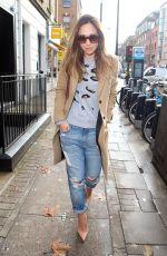 MYLEENE KLASS in Ripped Jeans Out in London 1811