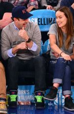 OLIVIA WILDE and Jason Sudeikis at New York Knicks - Game at Madison Square Garden