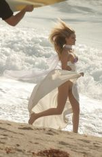 ROSIE HUNTINGTON-WHITELEY at a Photoshoot at a Beach in Malibu