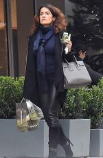 SALMA HAYEK in Leather Out Shopping in London