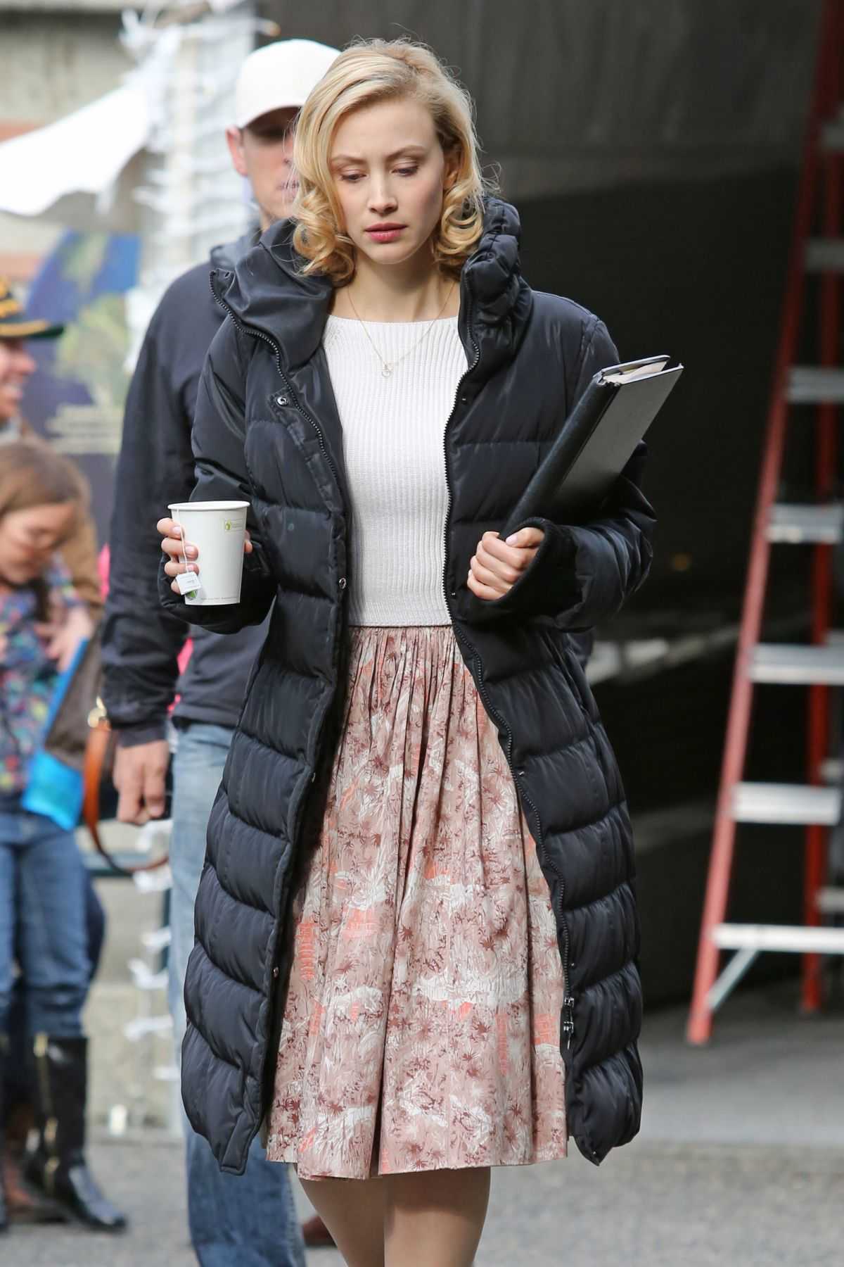 SARAH GADON at The 9th Life of Louis Drax Set in Vancouver