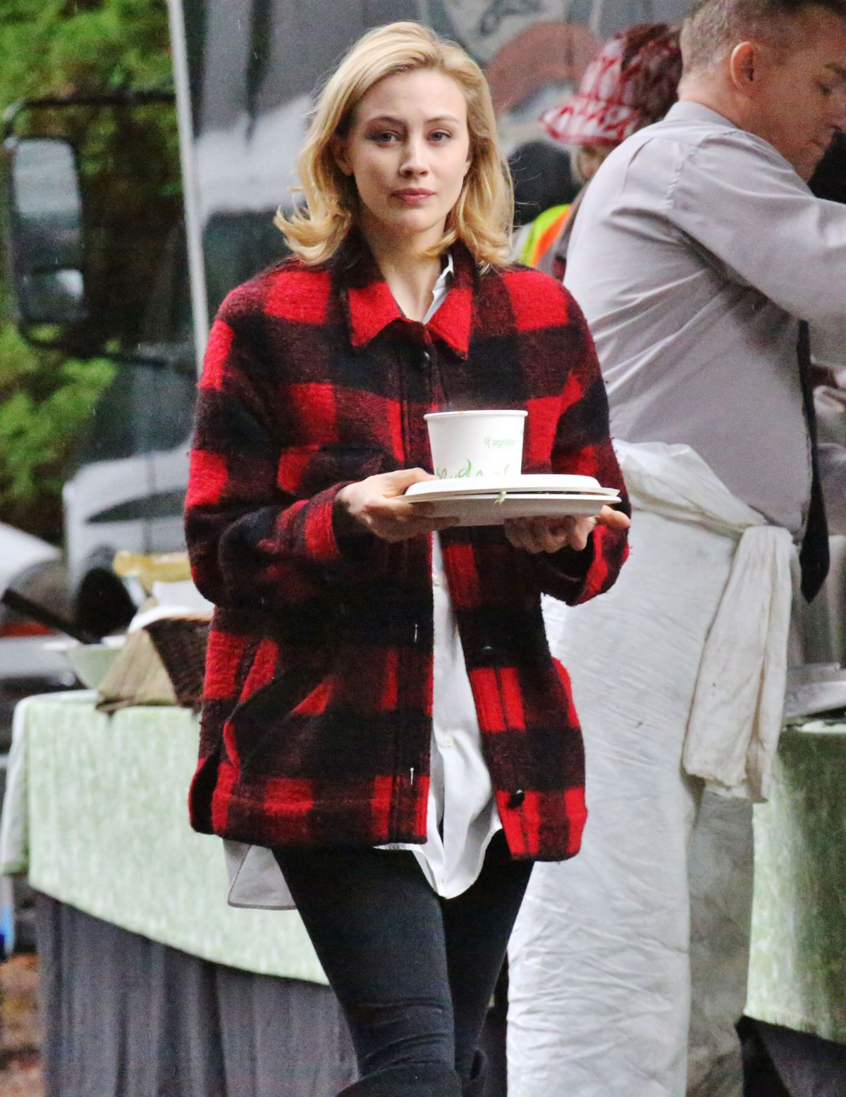 SARAH GADON on the Set of The 9th Life of Louis Drax in Vancouver