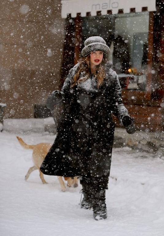 ALBA PARIETTI Walk Her Dog Out in Courmayeu
