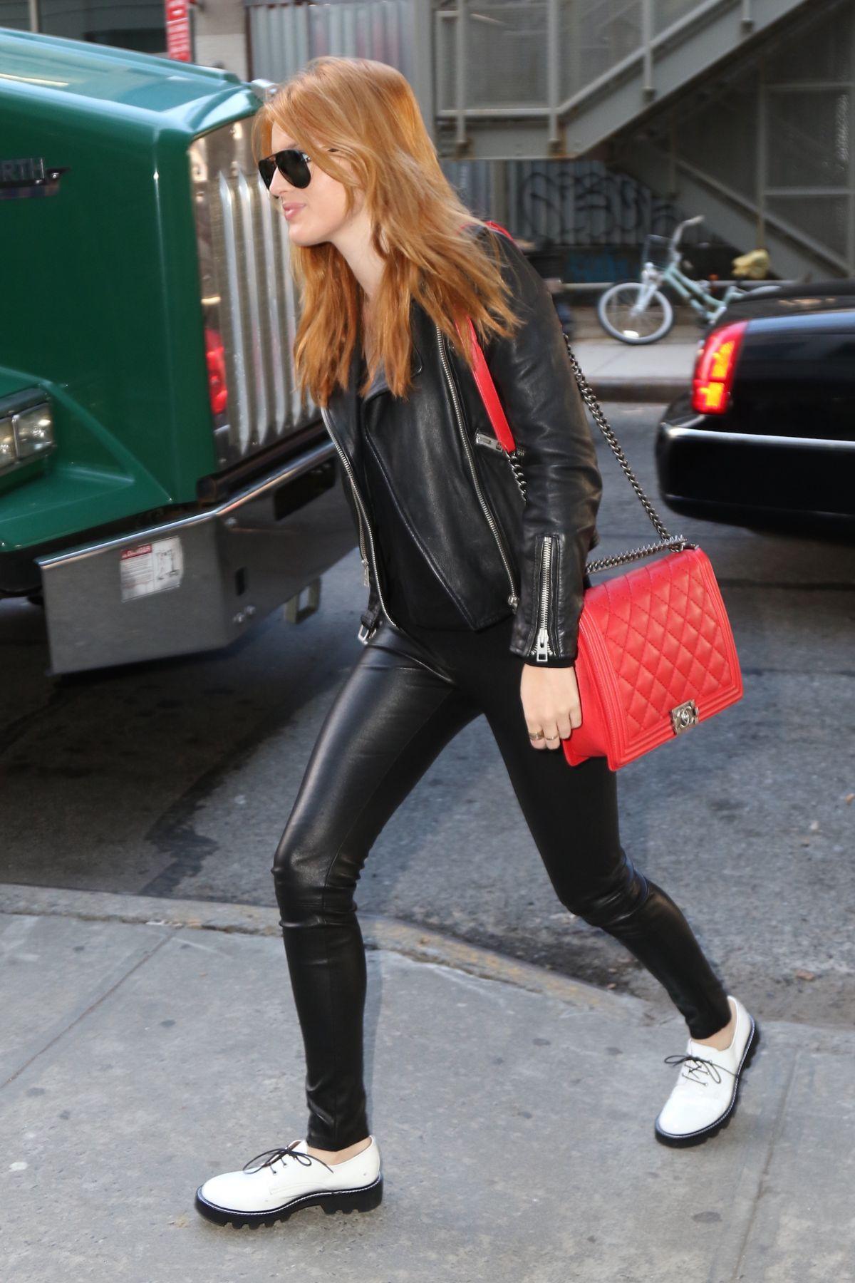 bella thorne leather pants