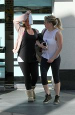 HILARY and HAYLIE DUFF Leaves a Gym in West Hollywod