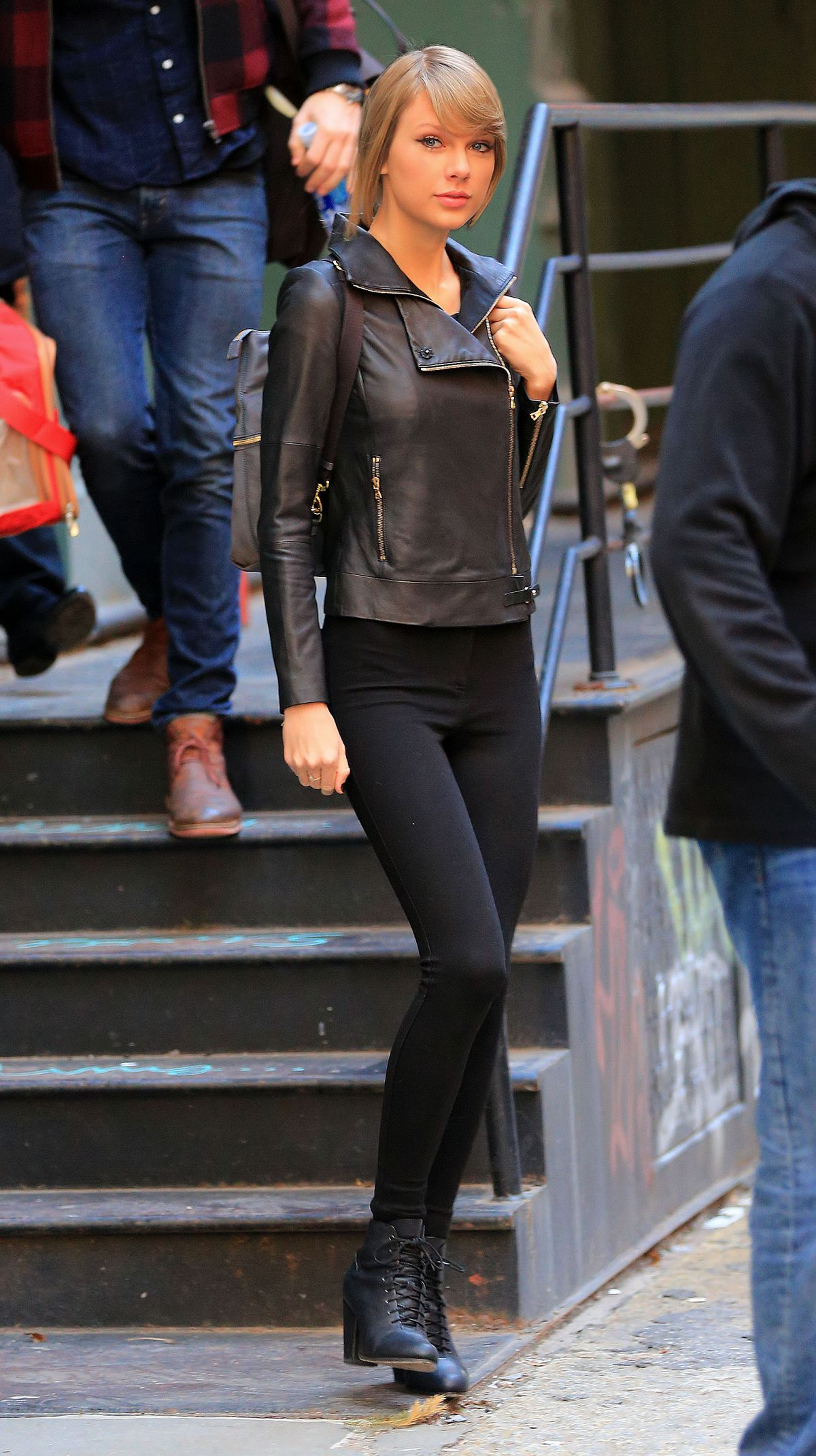 Taylor Swift In Leather Jacket Leaves Her Apartment In New