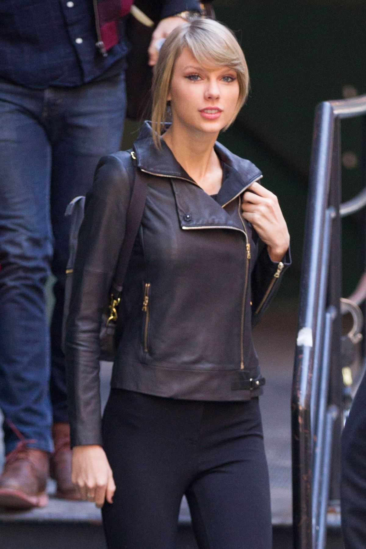 TAYLOR SWIFT in Leather Jacket Leaves Her Apartment in New York