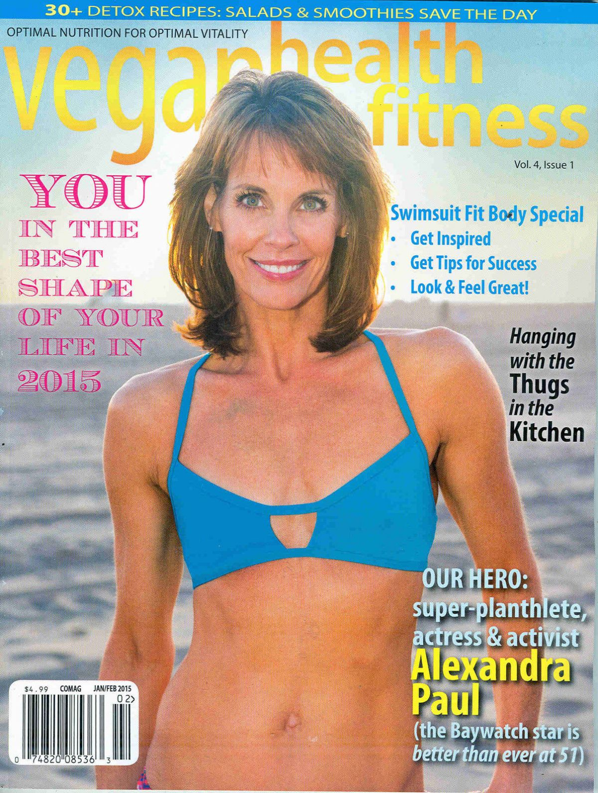 ALEXANDRA PAUL on the Cover of Vegan Health & Fitness Magazine, February 2015 Issue