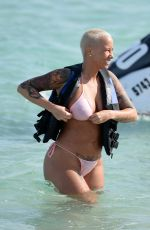 AMBER ROSE in Bikini at a Beach in Miami