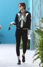DAKOTA JOHNSON in Tights Leaves Pilates Class in West Hollywood