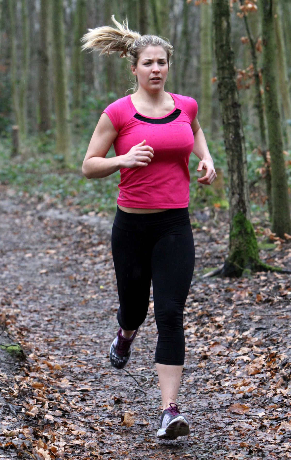 GEMMA ATKINSON Working Out in Forest in Essex