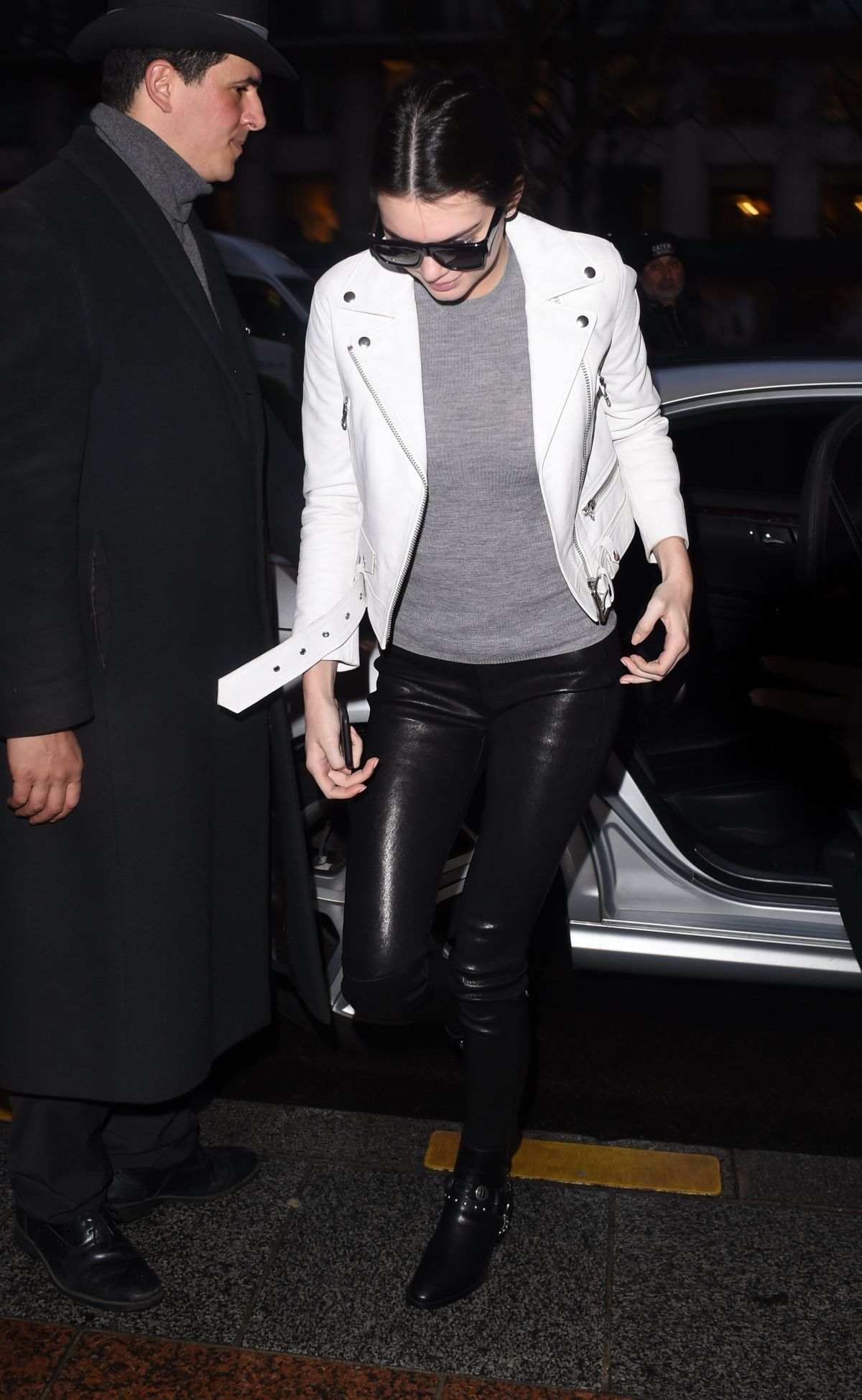 Kendall Jenner In Leather Pants Out And About In Paris