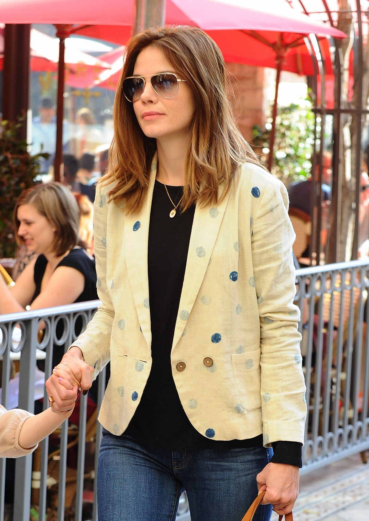 MICHELLE MONAGHAN Out at The Grove in Los Angeles