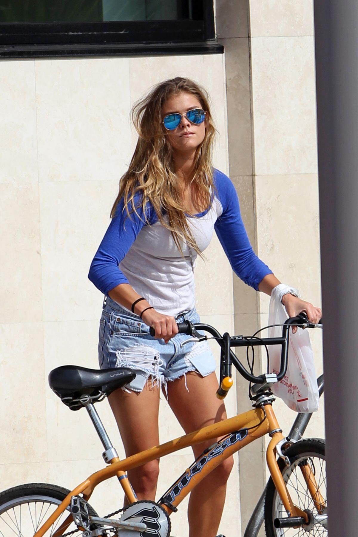 7f7241ab98718 NINA AGDAL Rides Her Bike in Miami - HawtCelebs