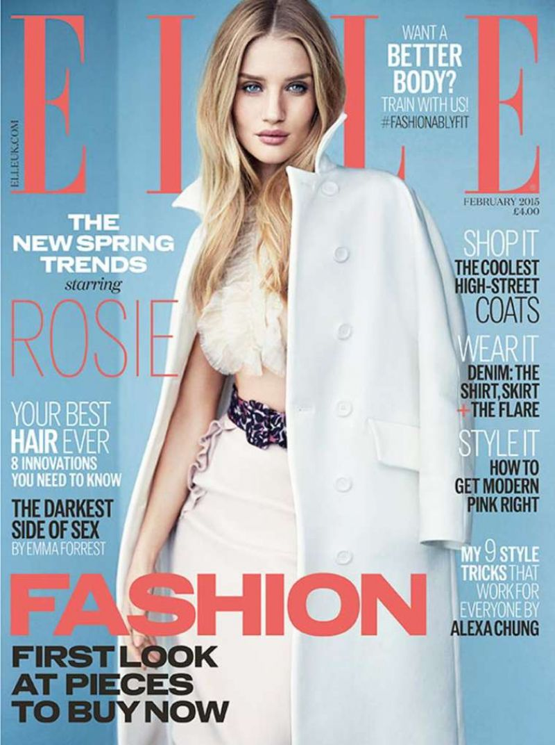 ROSIE HUNTINGTON-WHITELEY in Elle Magazine, February 2015 Issue