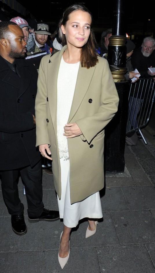 ALICIA VIKANDER at Harvey Weinstein's Bafta Dinner