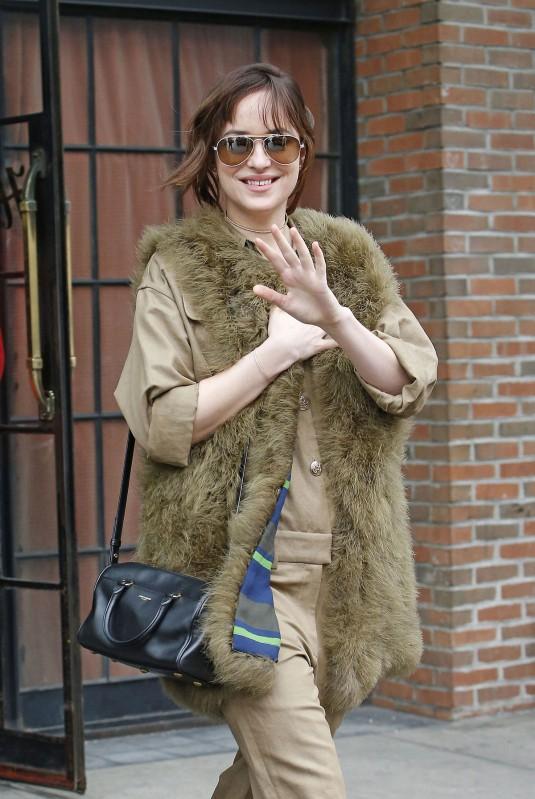DAKOTA JOHNSON Leaves the Bowery Hotel