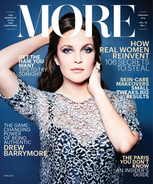 DREW BARRYMORE in MORE Magazine