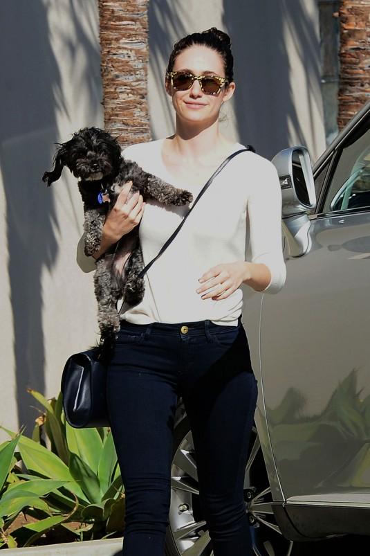 EMMY ROSSUM Taking Her Dog to the Vet
