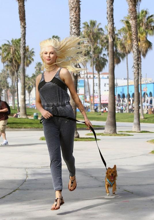IRELAND BALDWIN Walks Her Dog in Venice
