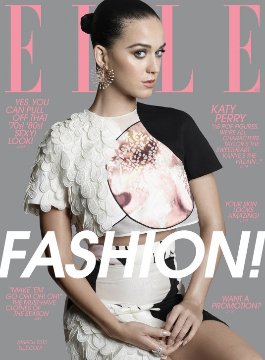 KATY PERRY on the Cover of Elle Magazine, March 2015 Issue