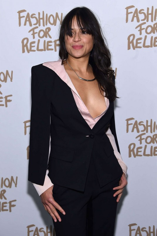 MICHELLE RODRIGUEZ at Naomi Campbell's Fashion for Relif Charity Fashion Show