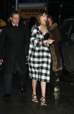 DAKOTA JOHNSON Arrives at Late Show with David Letterman in New York