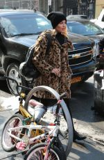 DIANNA AGRON in Fur Coat Out and About in New York