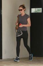 EMILY BLUNT in Tights Leaves Rise Movement Gym in West Hollywood