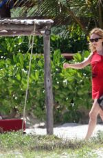 HEATHER GRAHAM in Bikini at a Beach in Mexico