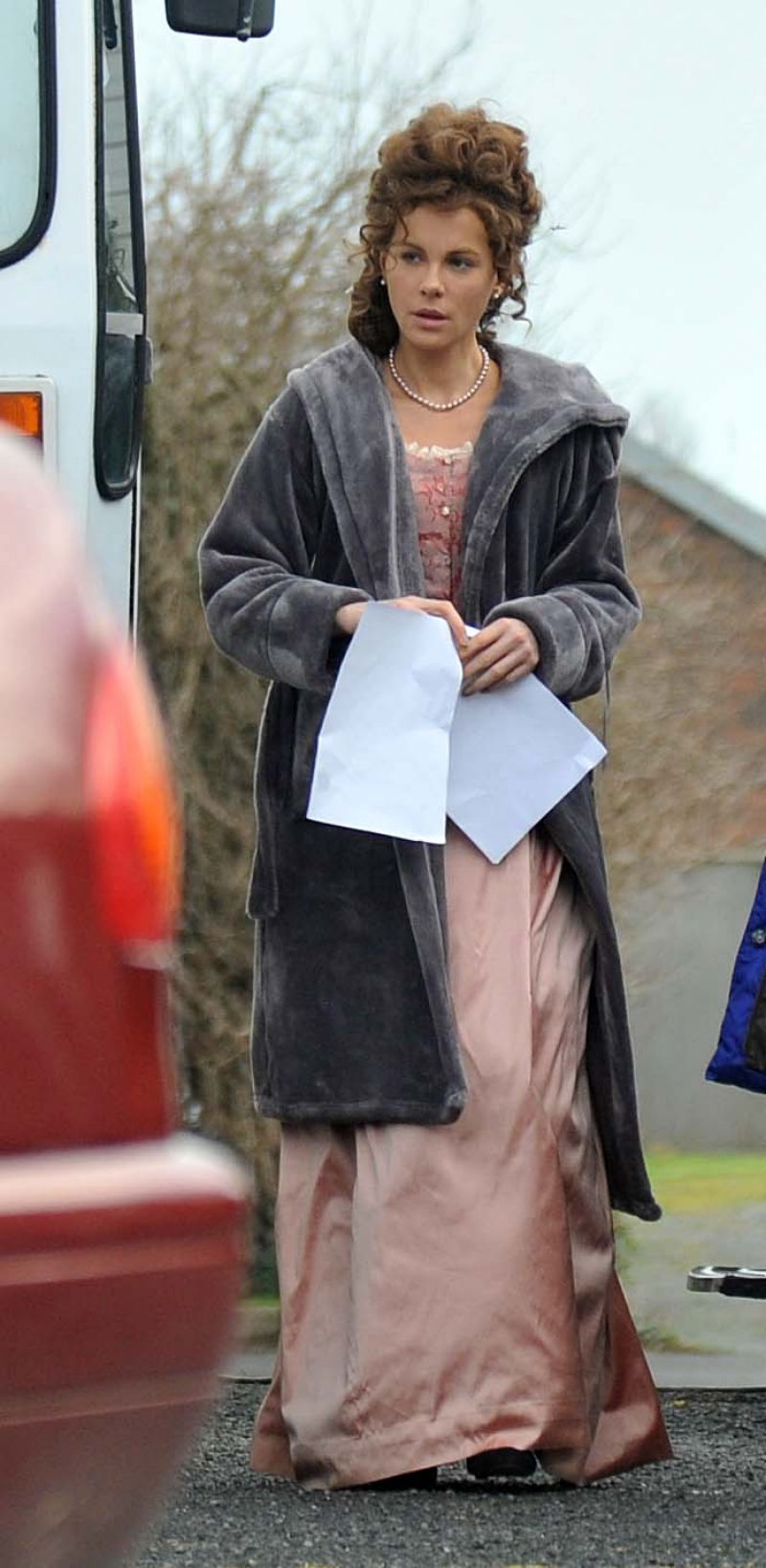 KATE BECKINSALE on the Set of Love and Friendship in Dublin