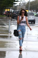 KAYA SCODELARIO in Ripped Jeans on The Gold Coast in Queensland