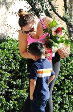 KELLY BROOK Gets Flowers from a Boy Out in Los Angeles