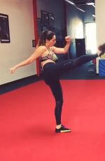 KELLY BROOK Training at Shaolin Wushu Centre in Los Angeles