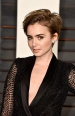LILY COLLINS at Vanity Fair Oscar Party in Hollywood